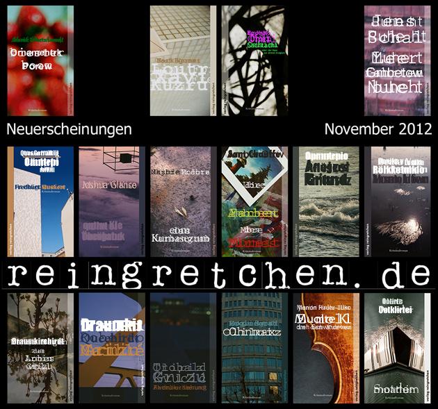 Reingretchen Neuerscheinungen November 2012